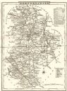 BEDFORDSHIRE: County map. Polling places. Coach roads. DUGDALE,1845